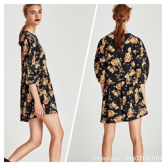 c53b35ec Zara Dresses | Floral Jumpsuit Shift Dress Size Large | Poshmark